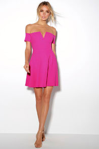 Play the Party Fuchsia Off-the-Shoulder Skater Dress at Lulus.com!