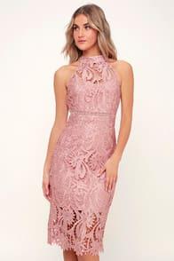 Isla Pink Lace Halter Midi Dress at Lulus.com!