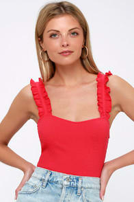 CRYSTAL RED RIBBED RUFFLED BODYSUIT at Lulus.com!