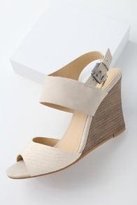 Brinn Beige and Bone Wedge Sandals at Lulus.com!