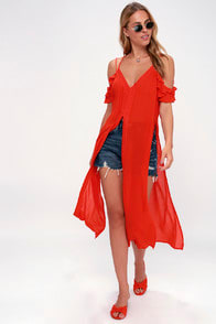 Sandy Cay Red Crocheted Cover-Up at Lulus.com!