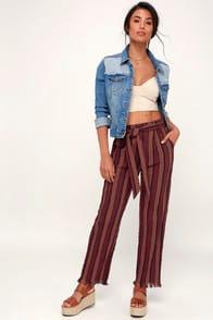 Renfore Burgundy Striped Pants at Lulus.com!