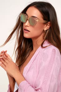 New York, New York Beige and Pink Mirrored Square Sunglasses at Lulus.com!