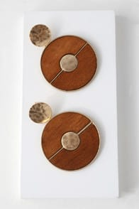 Retro Appeal Gold and Wood Statement Earrings at Lulus.com!