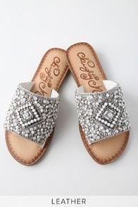 Susanna White Leather Rhinestone Slide Sandals at Lulus.com!