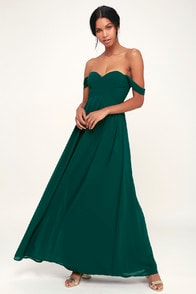 Harmonious Love Forest Green Off-the-Shoulder Maxi Dress at Lulus.com!