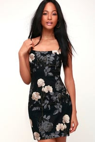 ELSTON BLACK FLORAL EMBROIDERED BODYCON DRESS at Lulus.com!