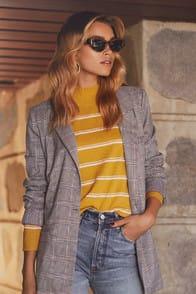 Bizz Babe Grey and Blue Plaid Blazer at Lulus.com!