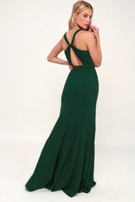 Always Be in Love Forest Green Twist-Back Maxi Dress at Lulus.com!