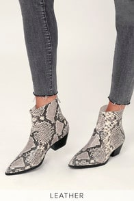 Steve Madden Cafe Natural Snake Leather Ankle Booties at Lulus.com!