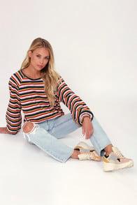 Make It Rainbow Multi Stripe Balloon Sleeve Sweater Top at Lulus.com!