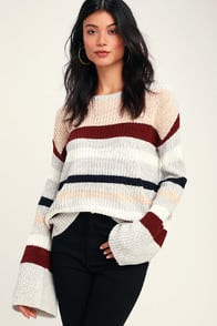 Penley Grey Multi Striped Bell Sleeve Knit Sweater at Lulus.com!