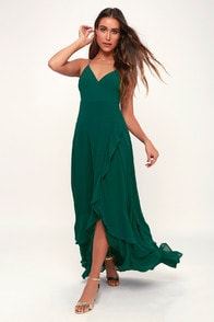 In Love Forever Emerald Green Lace-Up High-Low Maxi Dress at Lulus.com!