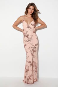 Valhalla Rose Gold Sequin Lace-Up Maxi Dress at Lulus.com!