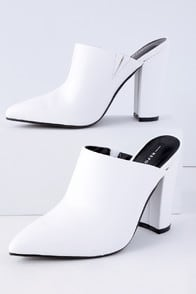 FINCH WHITE POINTED TOE MULES at Lulus.com!