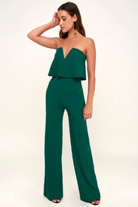 Power of Love Emerald Green Strapless Jumpsuit at Lulus.com!