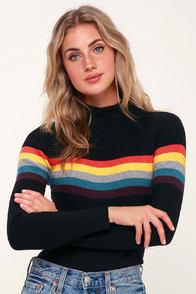 Loki Black Striped Ribbed Sweater Top at Lulus.com!