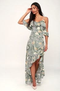 My My My Sage Green Floral Print Off-the-Shoulder Maxi Dress at Lulus.com!