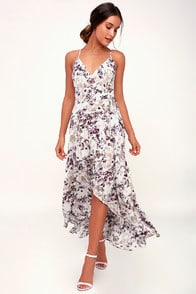 Singing at Sunset White and Purple Floral Print Midi Wrap Dress at Lulus.com!