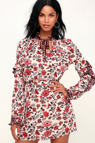 Spark of Love Beige Floral Print Ruffled Long Sleeve Dress at Lulus.com!