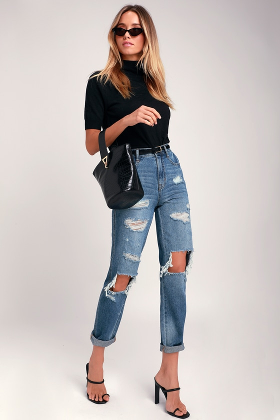 7f1a79f094 Jordache Cher Mom Jeans - Medium Wash Jeans - Destroyed Jeans