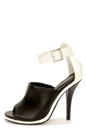 Shoe Republic LA Joan Black and White Peep Toe High Heels