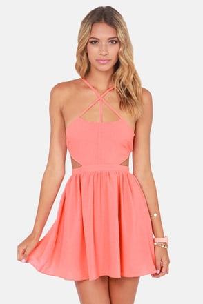 Sexy Peach Dress Cutout Dress Skater Dress 39 00