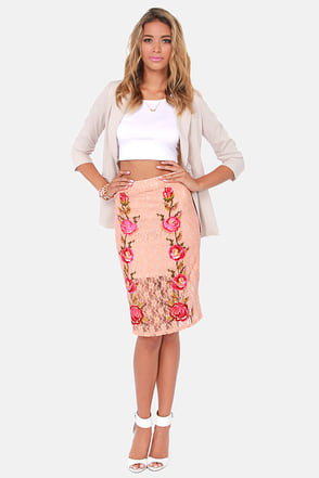 Pretty Peach Skirt Lace Skirt Embroidered Skirt