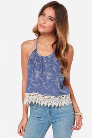 Seashore Stroll Slate Blue Halter Top