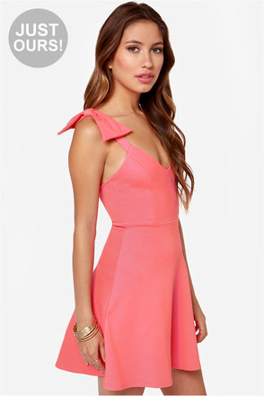 LULUS Exclusive Double Bow-nus Coral Pink Dress