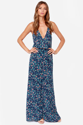 Country Lane Blue Floral Print Maxi Dress