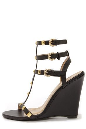 Jaida 8 Black and Gold Studded Wedge Sandals