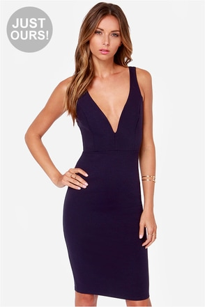 LULUS Exclusive Gracefully Yours Navy Blue Dress