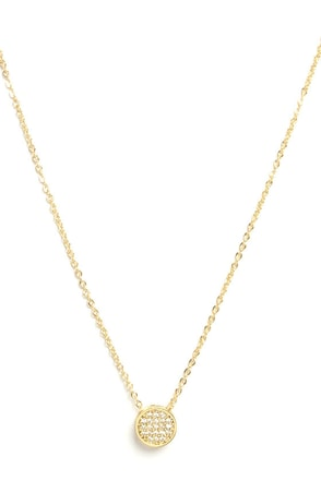 Paradise Round Gold Rhinestone Necklace