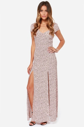 For Love & Lemons Hailey Pink Floral Print Maxi Dress