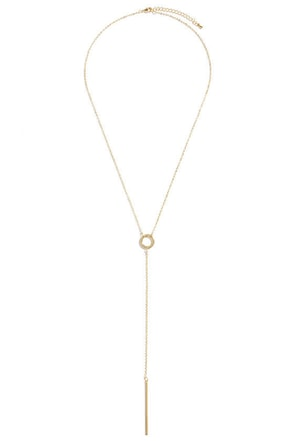 Drop A Line Gold Pendant Necklace