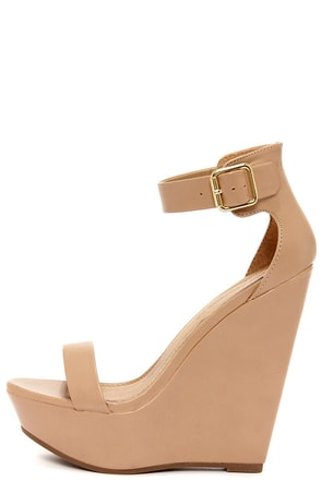 Vivi 01 Natural Ankle Strap Platform Wedges