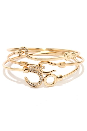 Hooked On You Gold Bangle Set
