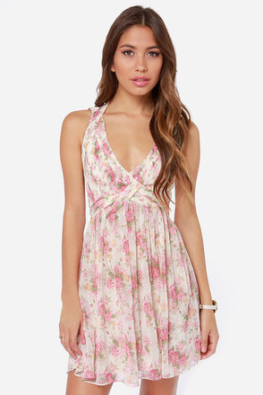 Top Fleur Cream Floral Print Dress