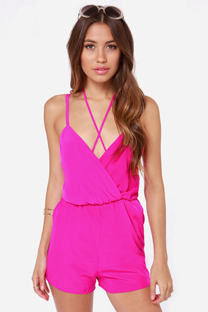 Strap-sational Backless Fuchsia Romper