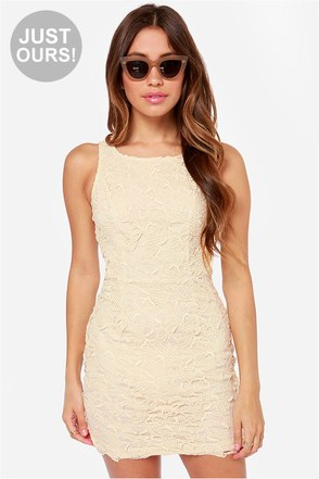 LULUS Exclusive Loft Party Cream and Black Lace Dress