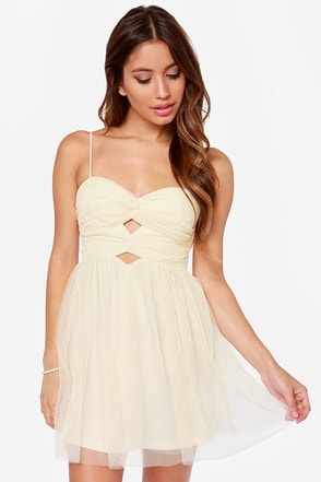 Knot Long Now! Cutout Cream Dress