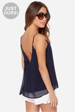 LULUS Exclusive Bel Air Baby Navy Blue Tank Top