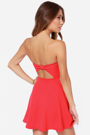 America's Sweetheart Strapless Coral Red Dress