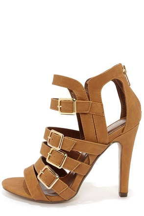 My Delicious Kiara Tan Nubuck Caged High Heel Sandals