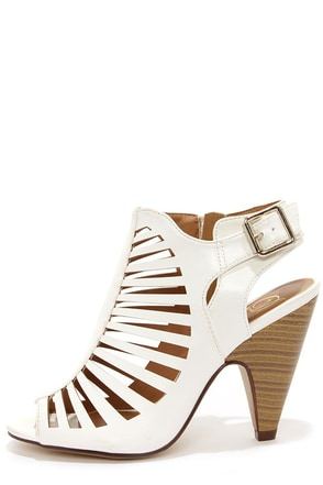 My Delicious Shaky White Caged Shootie Heels