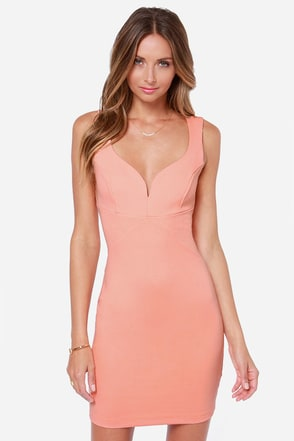 Curve-ing Berlin Bodycon Peach Dress