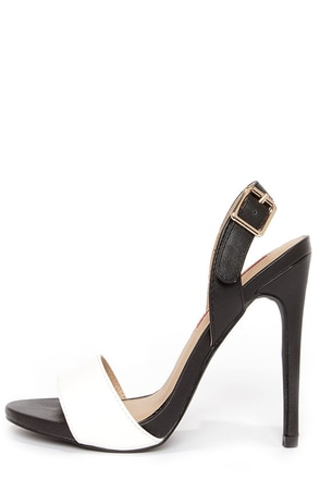C Label Olive 16 Black and White Slingback Heels