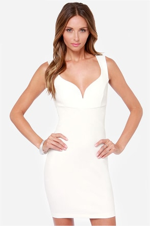 Curve-ing Berlin Bodycon Ivory Dress