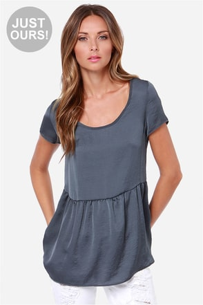 LULUS Exclusive Night Visions Grey Top